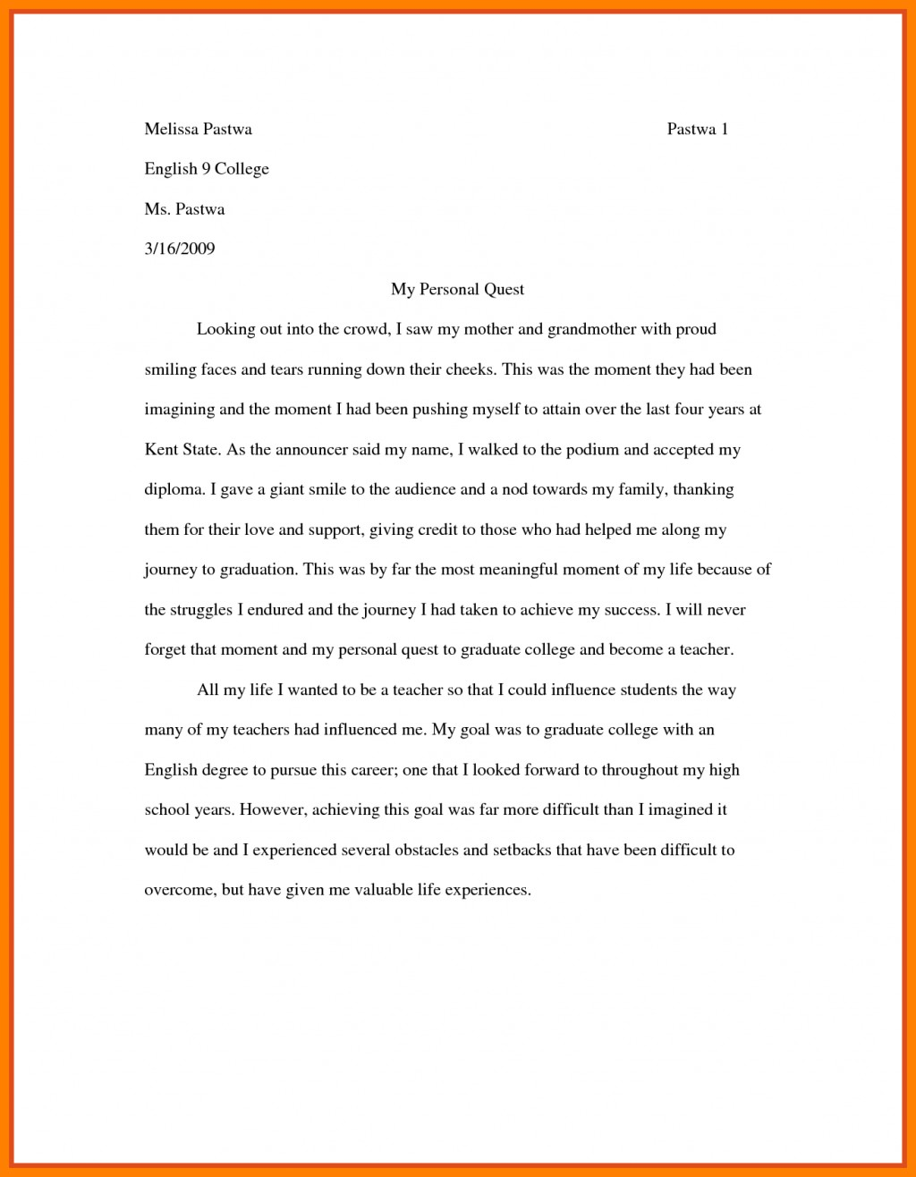 006 Essay Example Examples Of College Essays Writing Format For High School Students Sample Community Service My Most Influential Fascinating Teacher Large