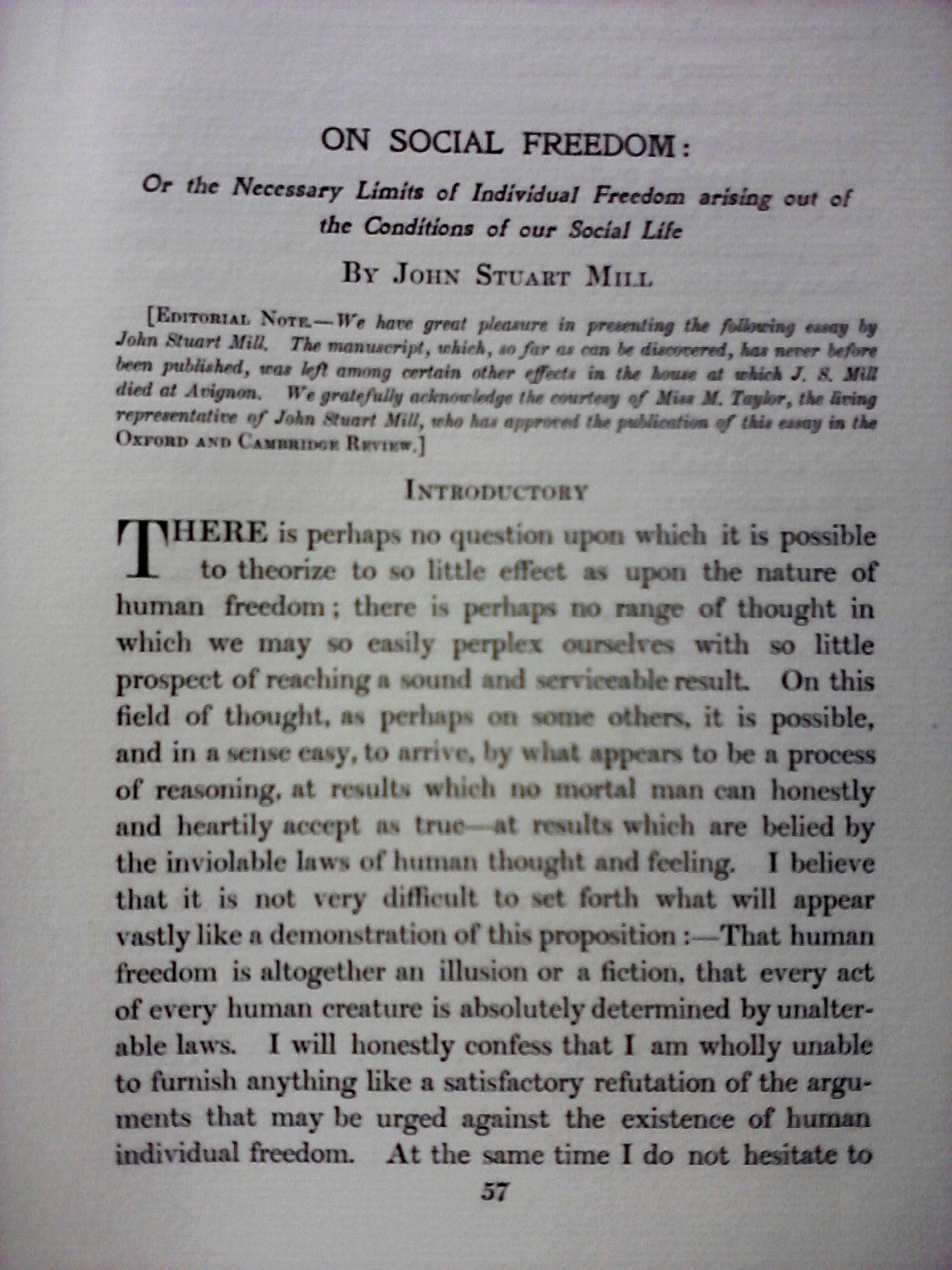 006 Essay Example Freedom Definition On Social In Oxford And Cambridge Review 1907 Rare Meaning Of Speech 1920