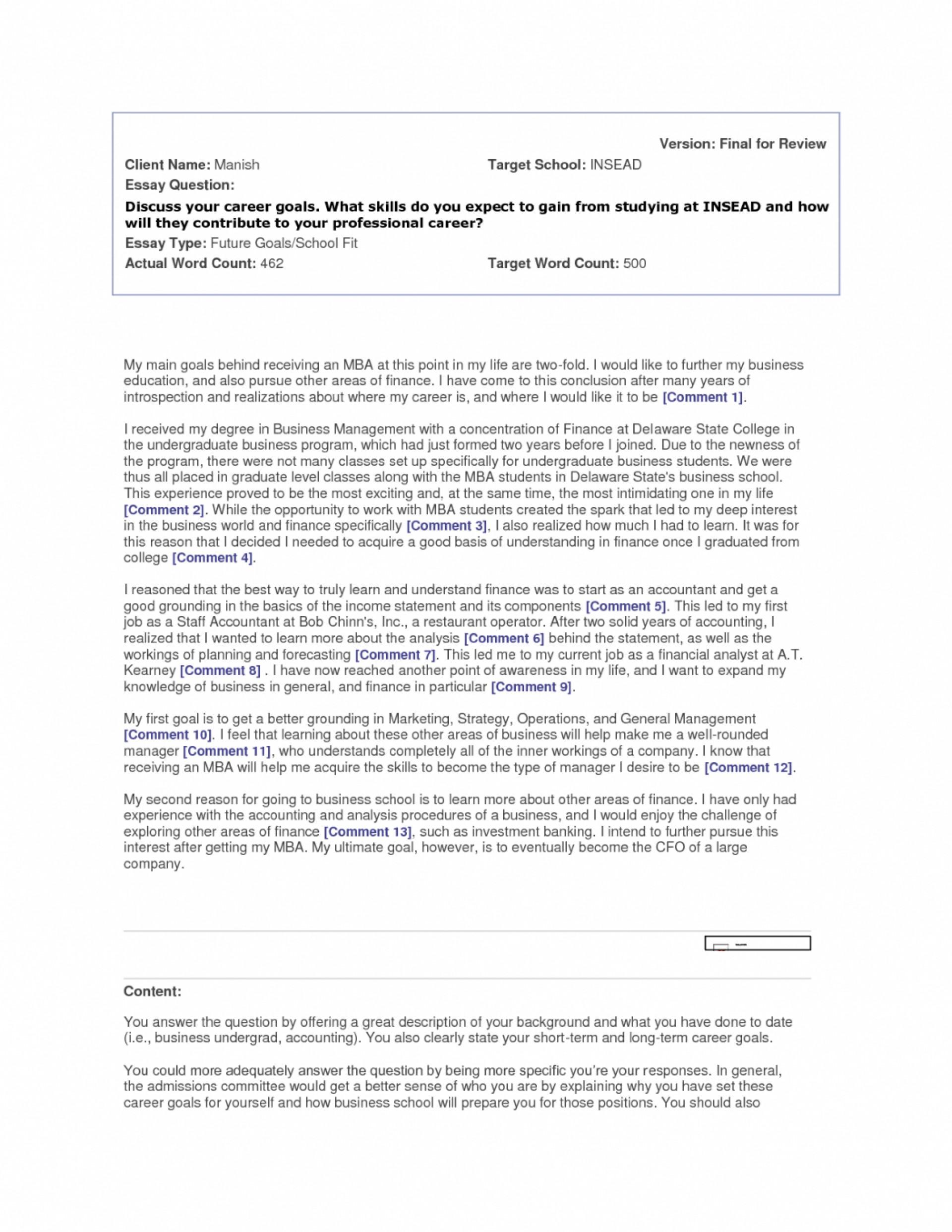 006 Essay Example Future Career Goals Examples Sample Professional Goal Co Ideas Pdf Stirring 1920