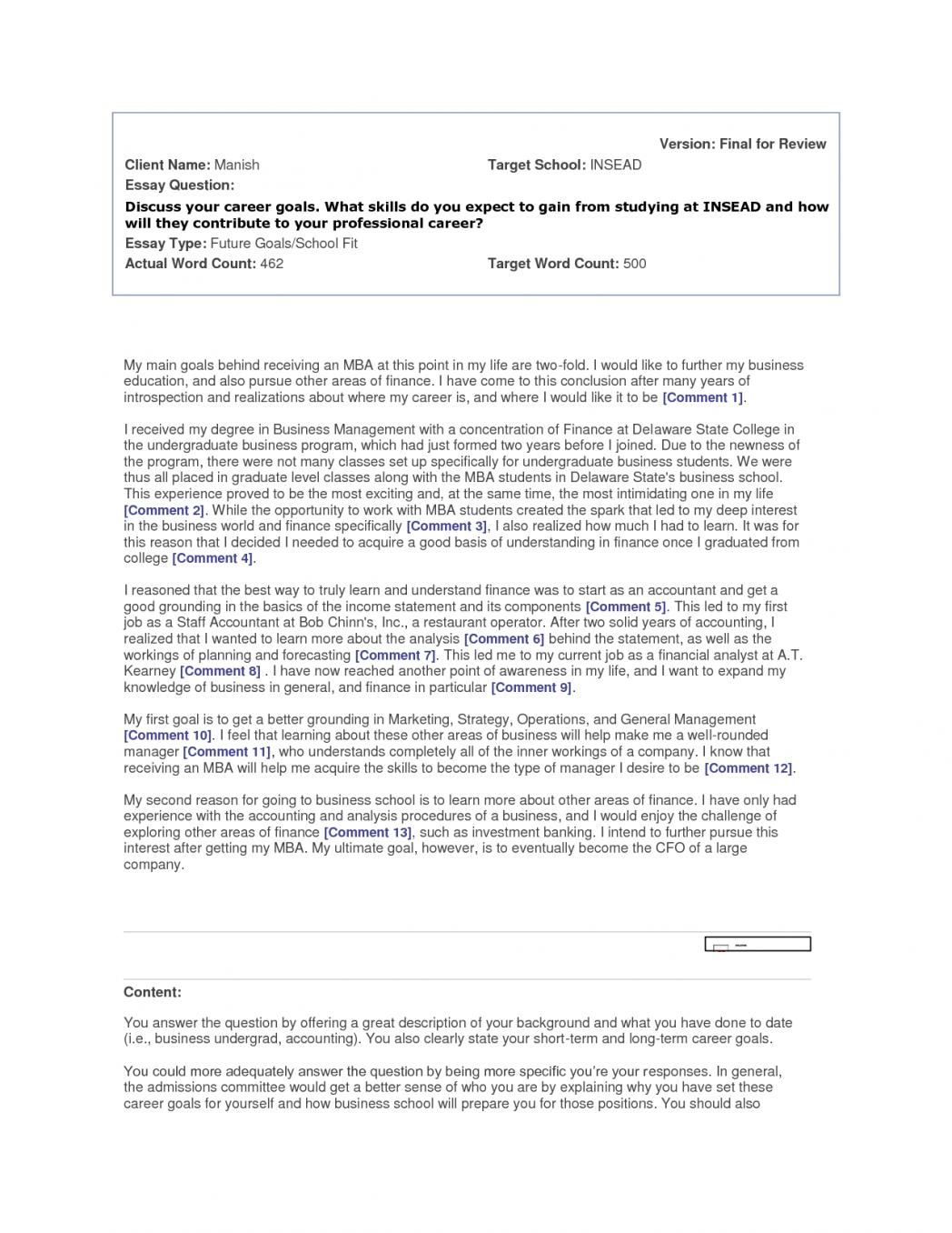 006 Essay Example Future Career Goals Examples Sample Professional Goal Co Ideas Pdf Stirring Full