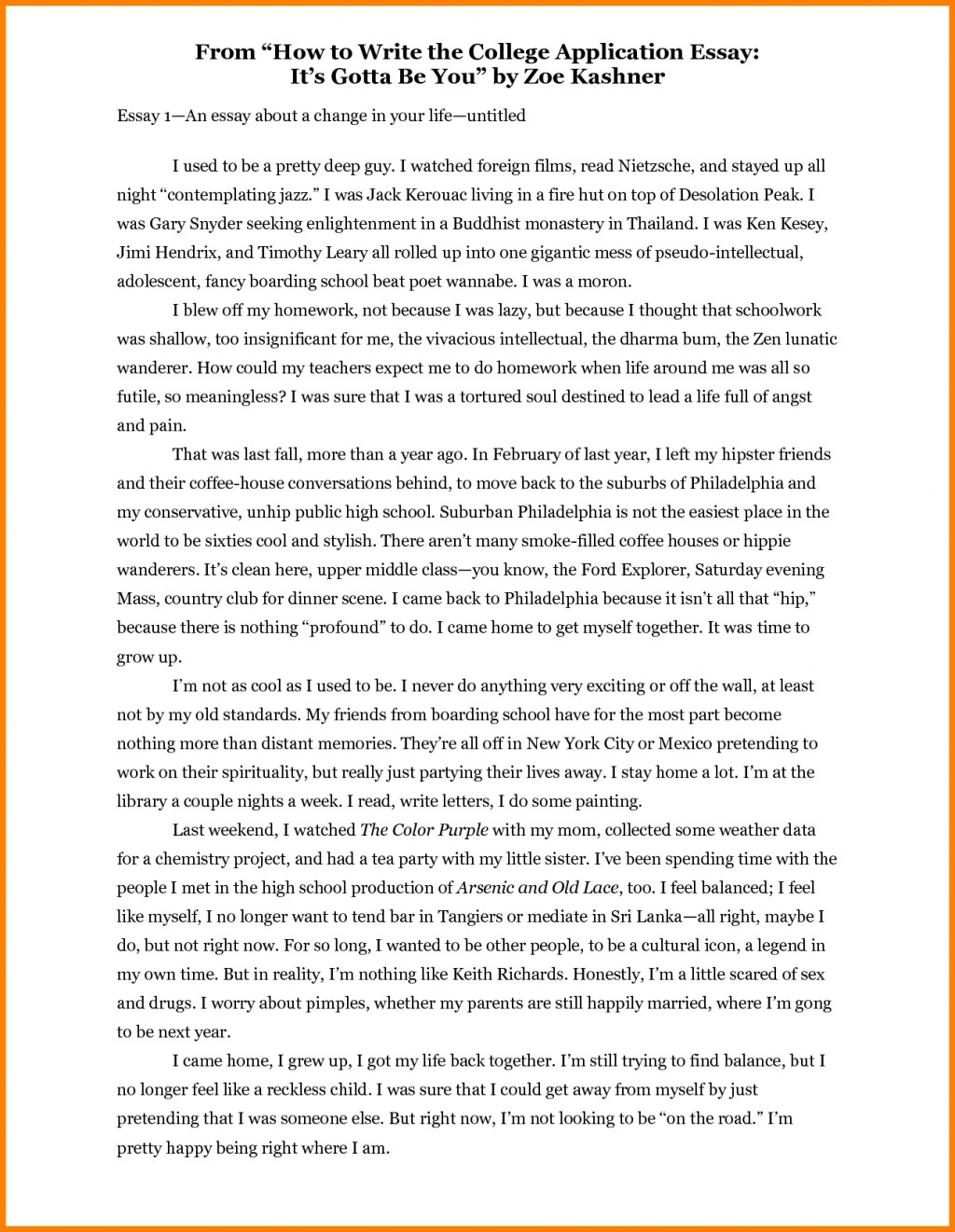 006 Essay Example How To Start Off An About Yourself Unique Myself For College A Job Large