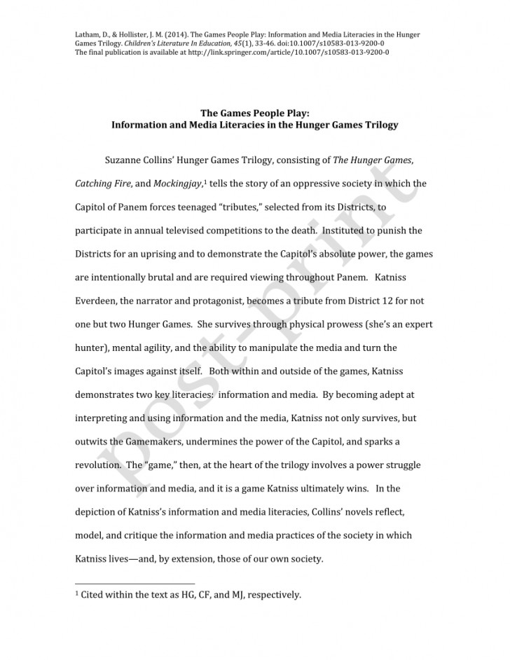 006 Essay Example Largepreview The Hunger Games Book Imposing Review 728