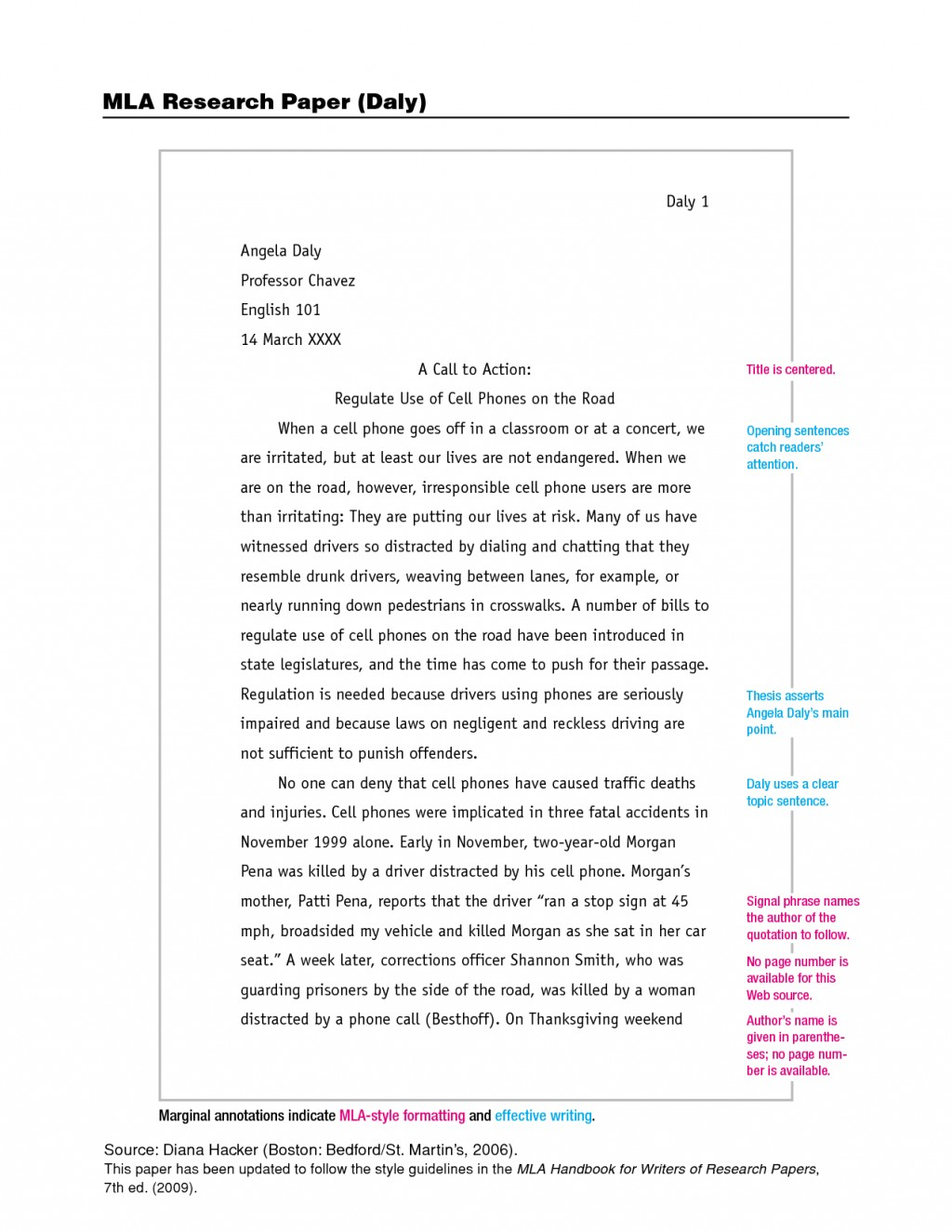 006 Essay Example Mla Phenomenal Formatted Format Title Page In Text Size Large