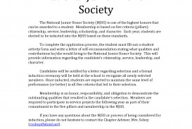 006 Essay Example National Junior Honor Society Unusual Samples