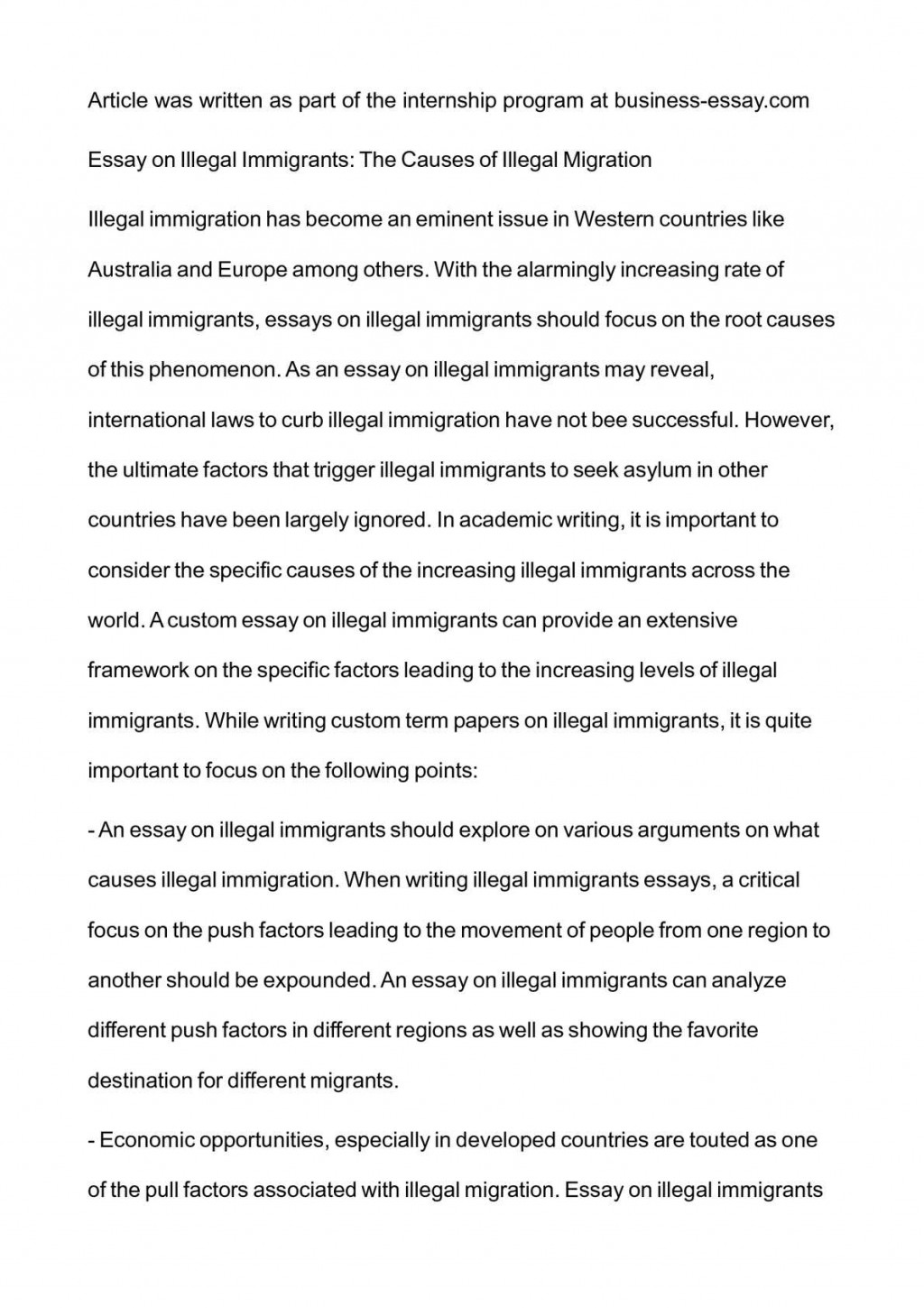 006 Essay Example P1 Immigration Essays Rare Samples Large