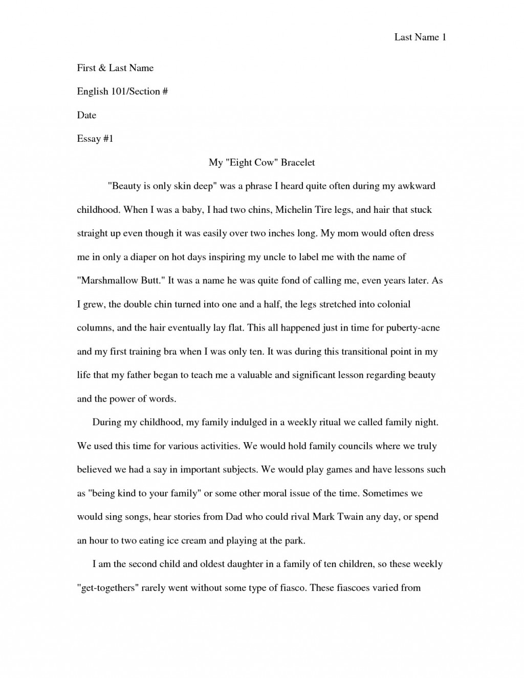 006 Essay Example Personal Narrative Examples For Colleges Autobiographical High Frightening School Large