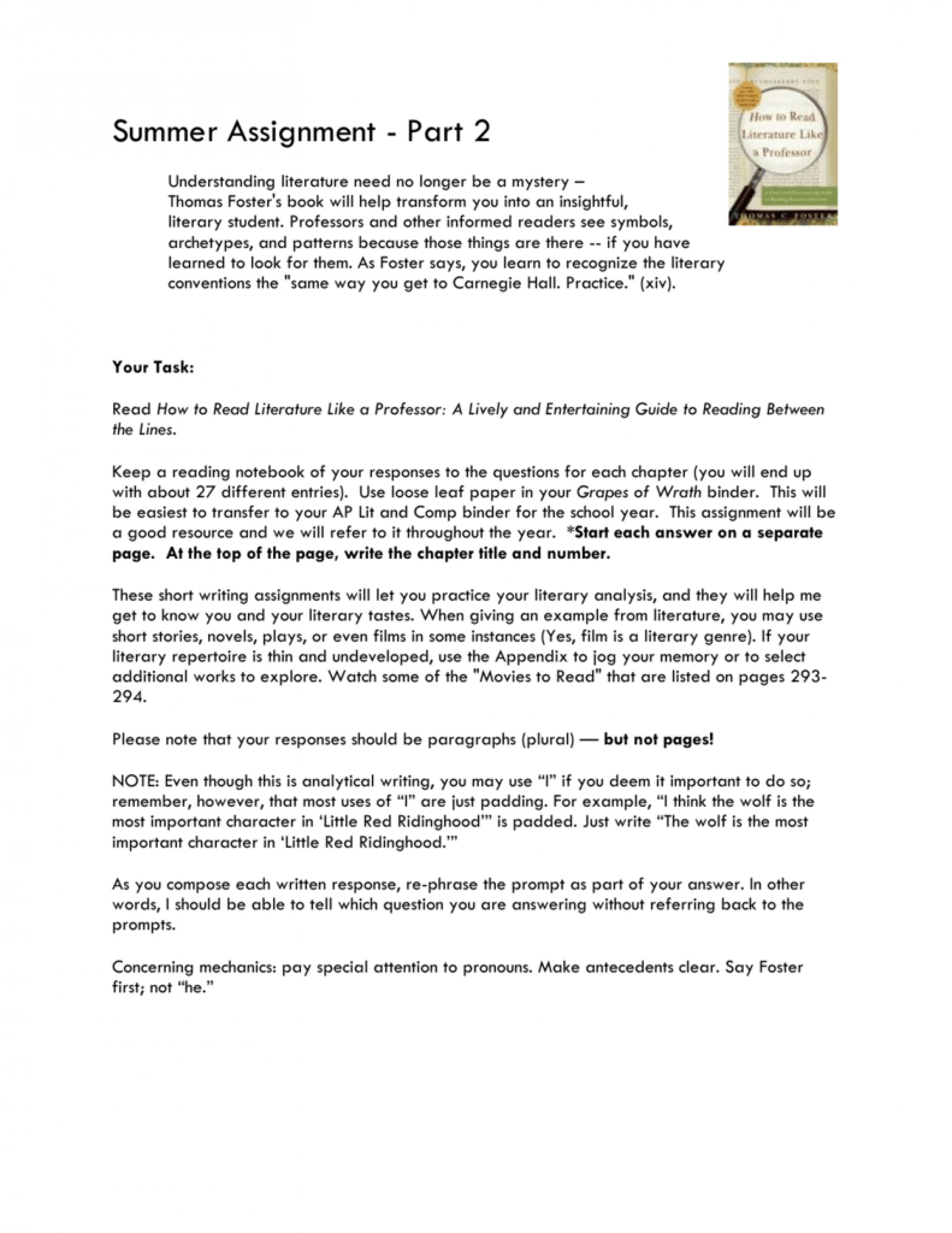 006 Essay Example Professor How To Read Lit Like 008059138 1 Amazing Teaching College Writing On My In French 1920