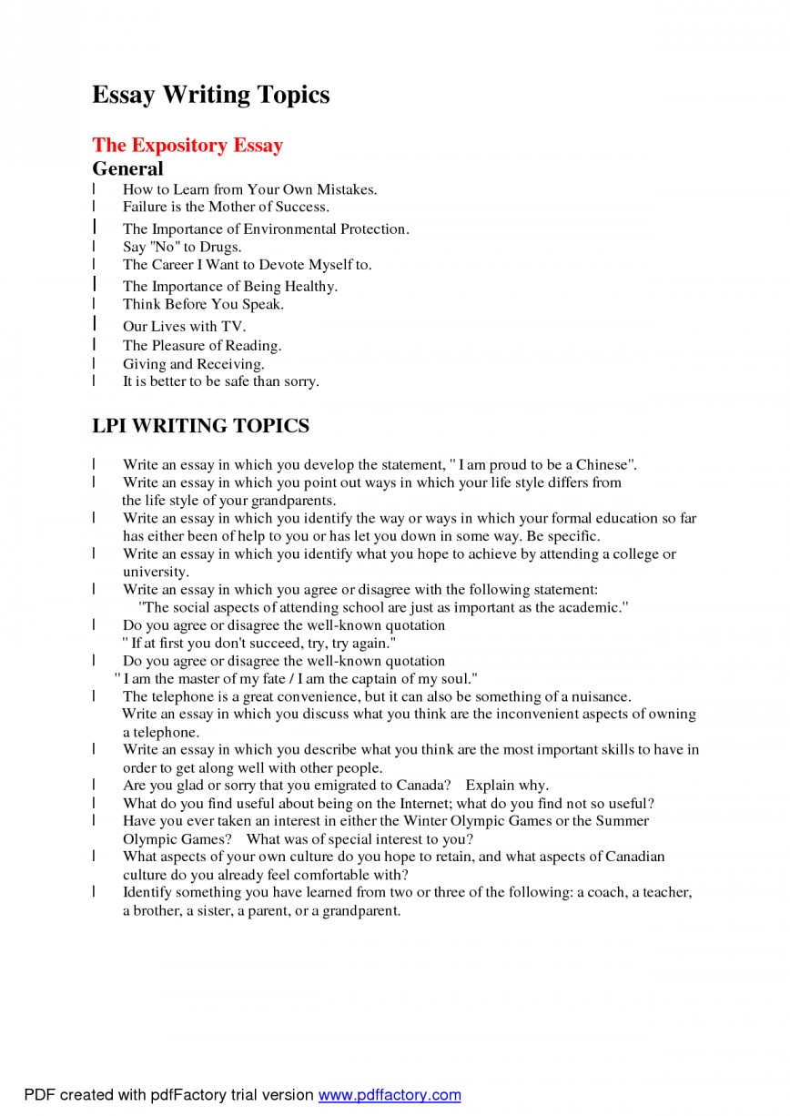006 Essay Example Subjects Topics To Write About Arguable Good L Astounding For High School Prompts Toefl Pdf 868