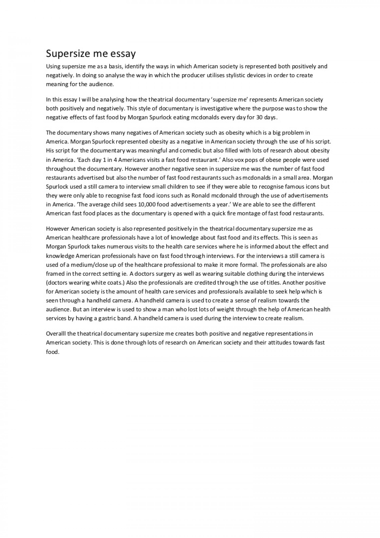 006 Essay Example Supersize Me Supersizemeessay Phpapp01 Thumbnail Stupendous Fathead Vs Super Size Conclusion Summary 1920