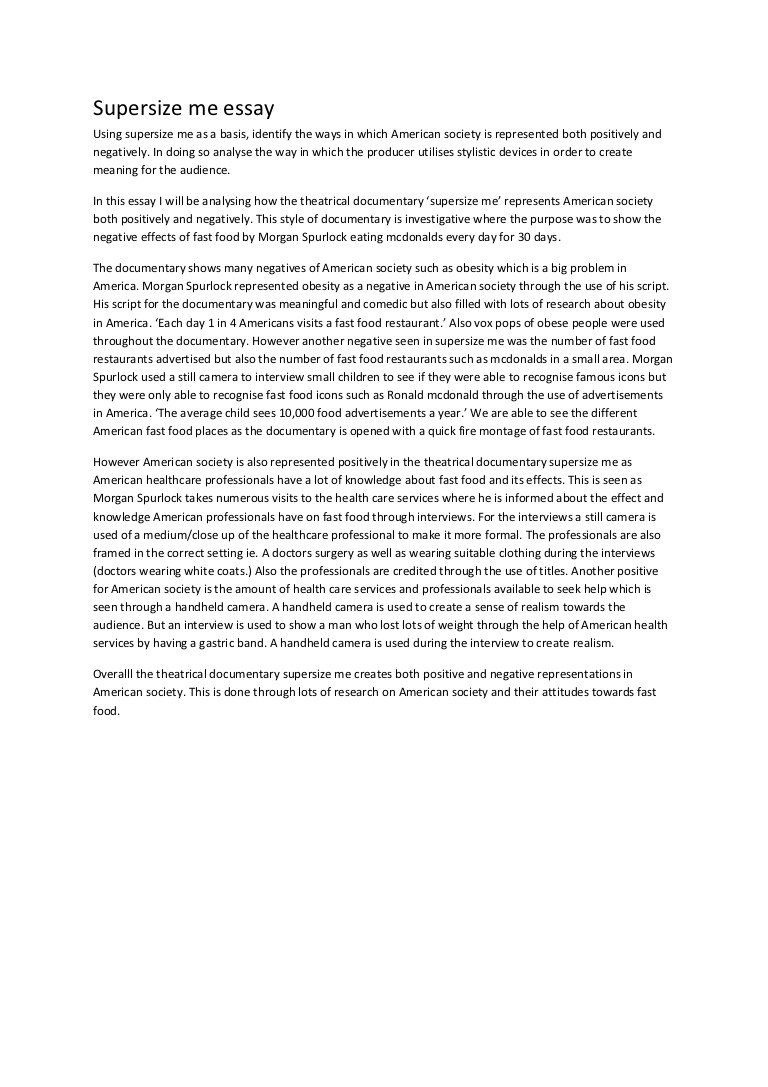 006 Essay Example Supersize Me Supersizemeessay Phpapp01 Thumbnail Stupendous Fathead Vs Super Size Conclusion Summary Full