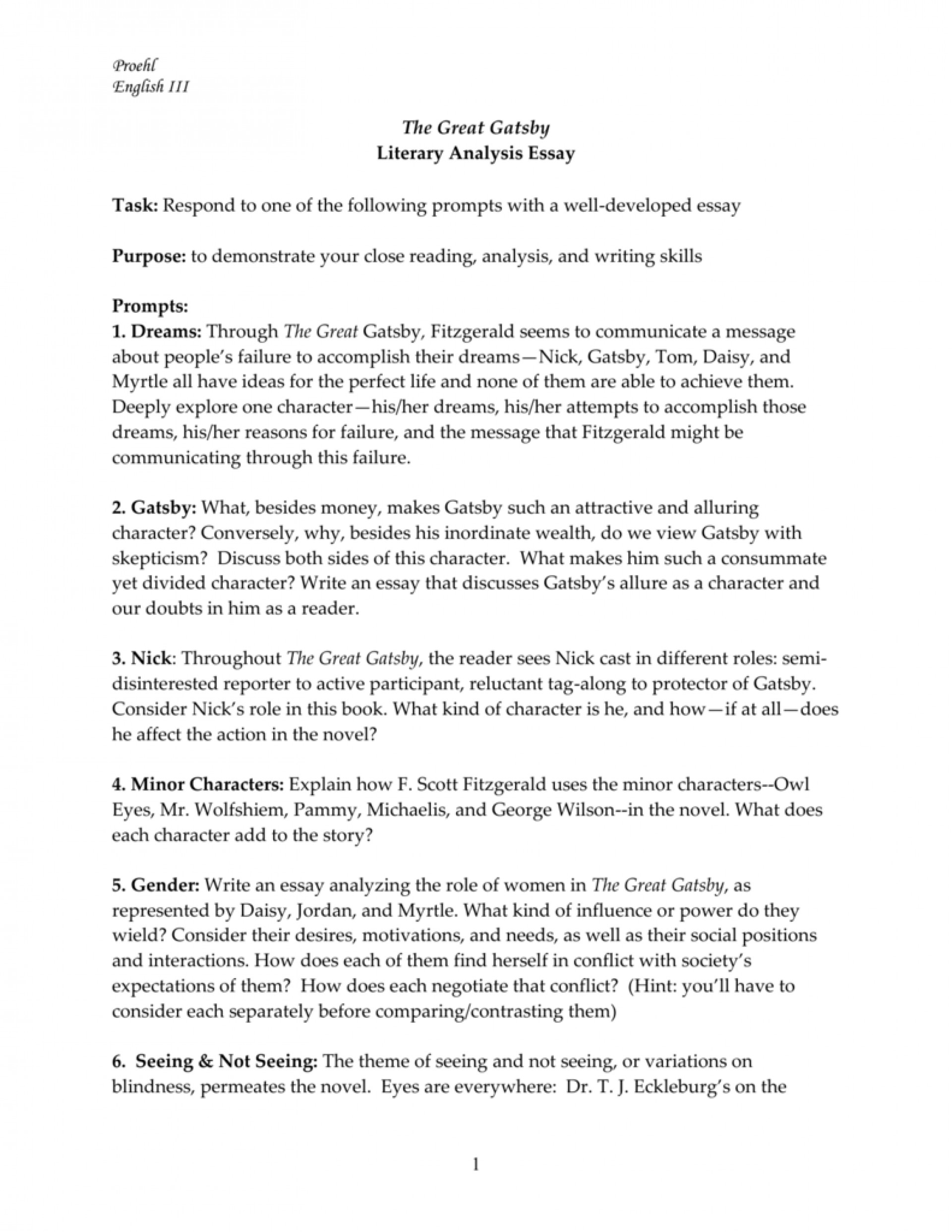 006 Essay Example The Great Gatsby Topics 008001974 1 Exceptional Literary Question Chapter 1920