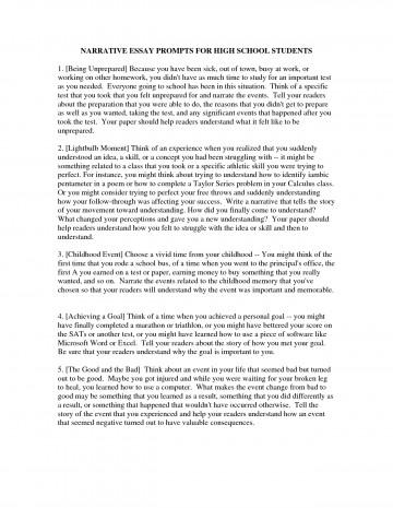 006 Essay Example Topics For High School Narrative Students Essays Ideas Highschool L Formidable Freshman Pdf