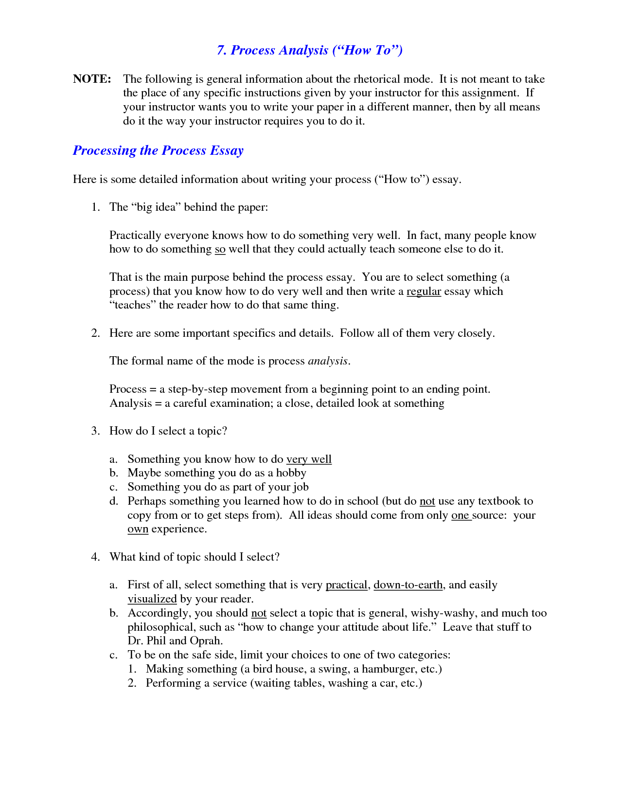 006 Essay Example What Is Process Analysis Of L Unusual A Complex Good Topic Description Full