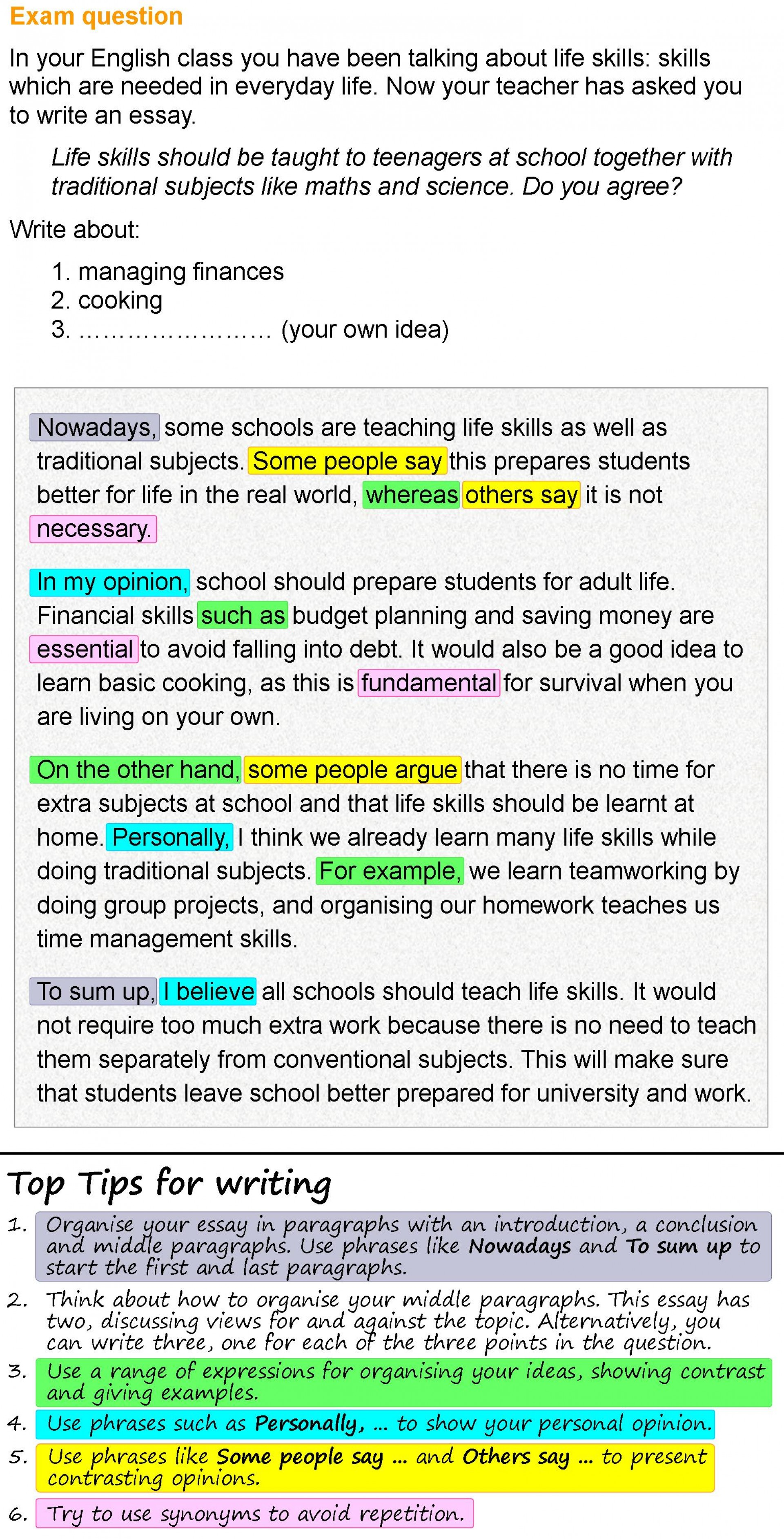 006 Essay Writing On Examination Day Life Skills 1 Rare 1920
