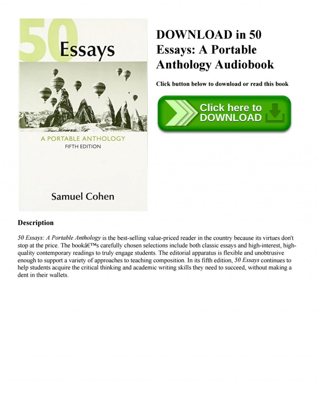 006 Essays 5th Edition Essay Example Page 1 Imposing 50 Fifty Great Pdf Free A Portable Anthology Ebook Large