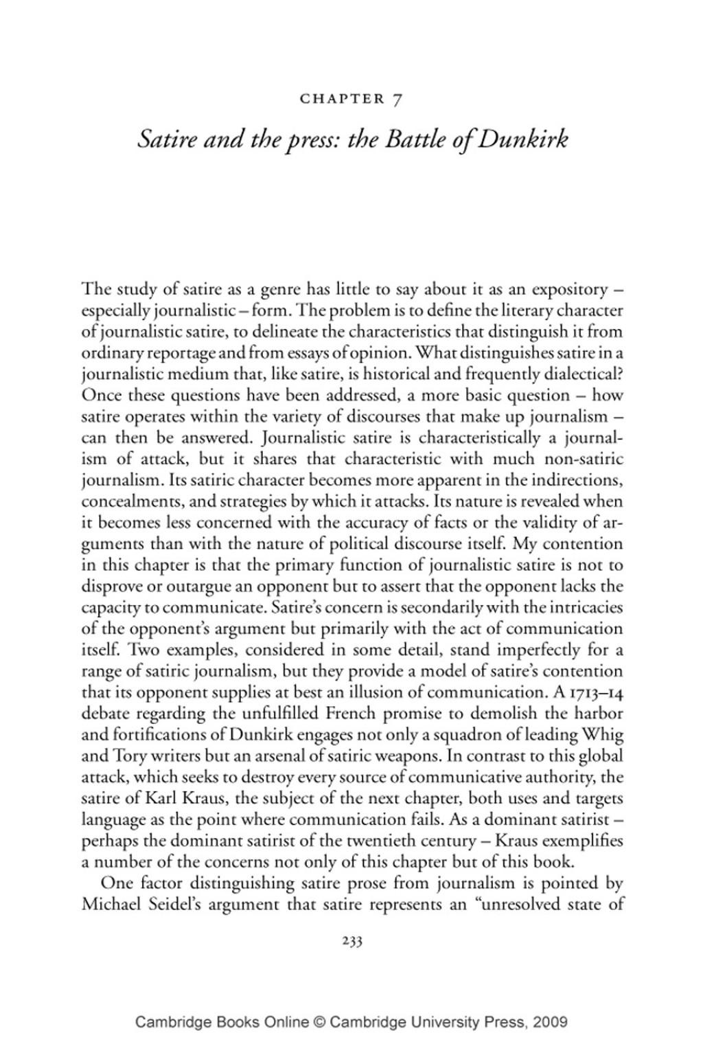 Essays about satire