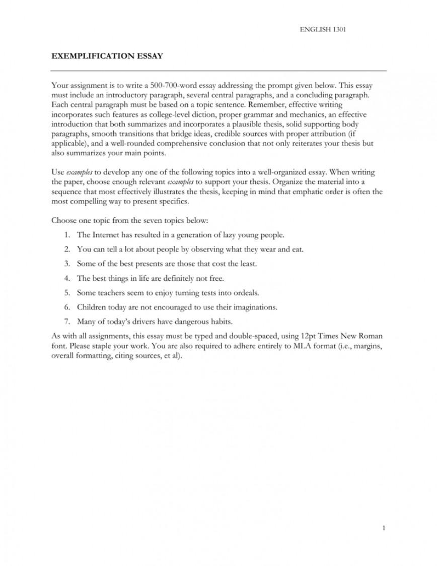 006 Exemplification Essay Topics Example 008198267 1 Unusual Famous Prompts Funny