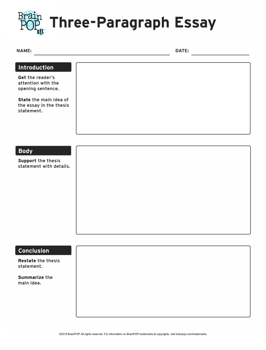 006 Expository Essay Graphic Organizer Example Three Paragraph Awesome Printable Writing Middle School Large