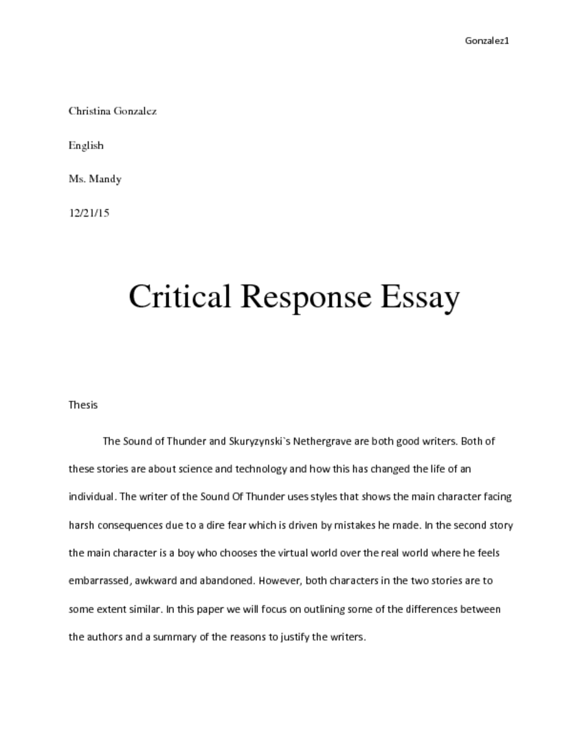 006 Fixed Essay Laenglishpage0 Example Critical Singular Response Sample Rough Draft Full