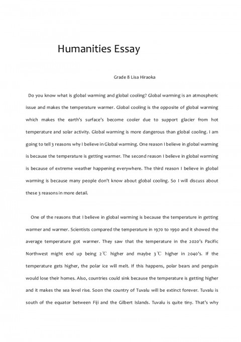 006 Global Warming Essay Humanitiesessay Phpapp02 Thumbnail Unusual Hook Conclusion Outline 480