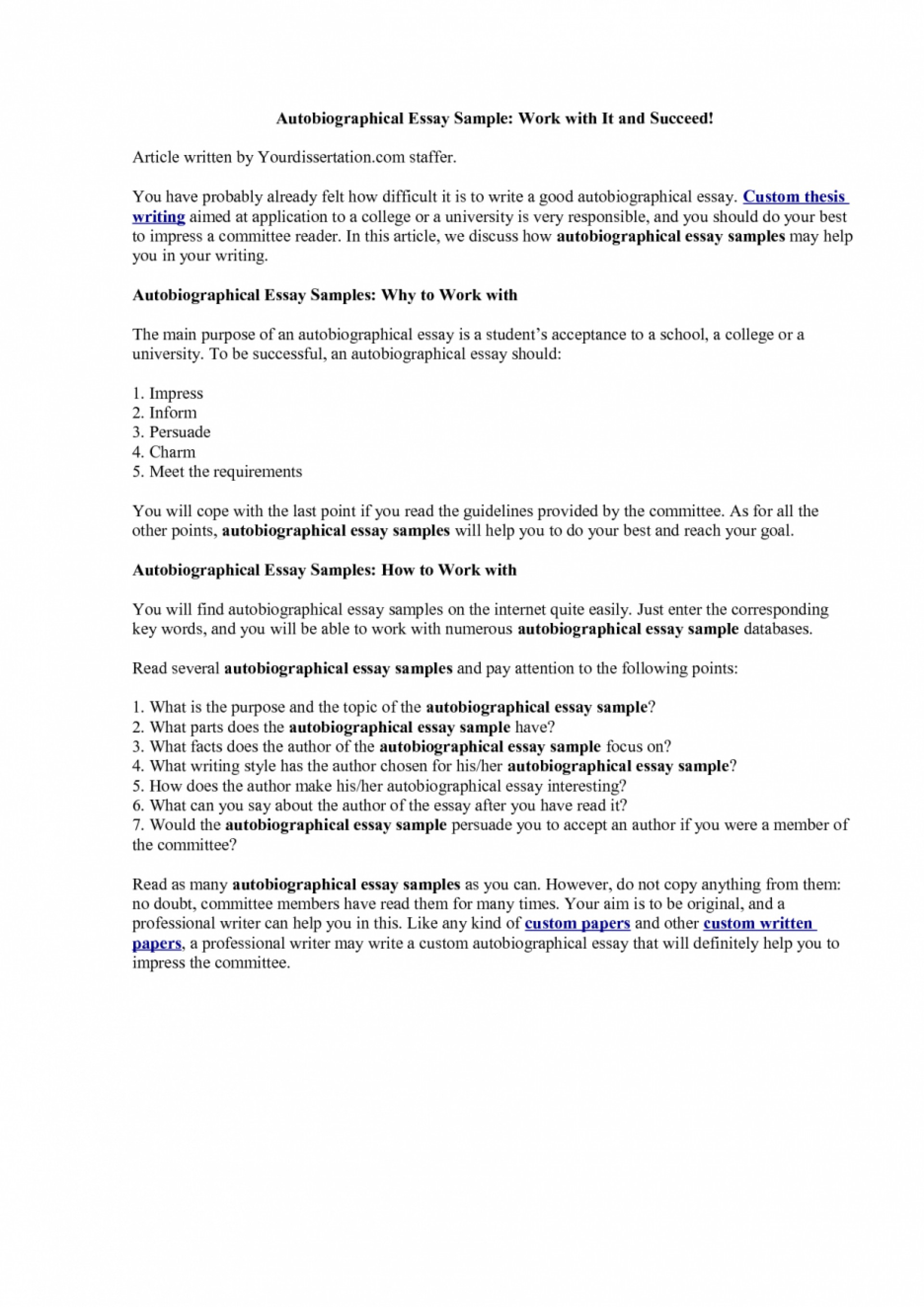 006 How To Start Autobiography Essay Example Autobiographical Examples For College Make Narrative Biographical On Myself Write Yourself Scholarship An Singular Annotated Bibliography A Good 1920
