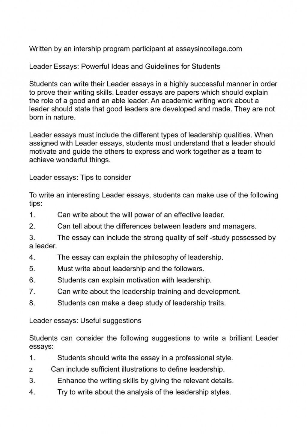 006 Leader Essays Powerful Ideas And Guidelines For Students Leadership Essay Writing Topi Topics Qualities Striking Mba Samples Pdf Large