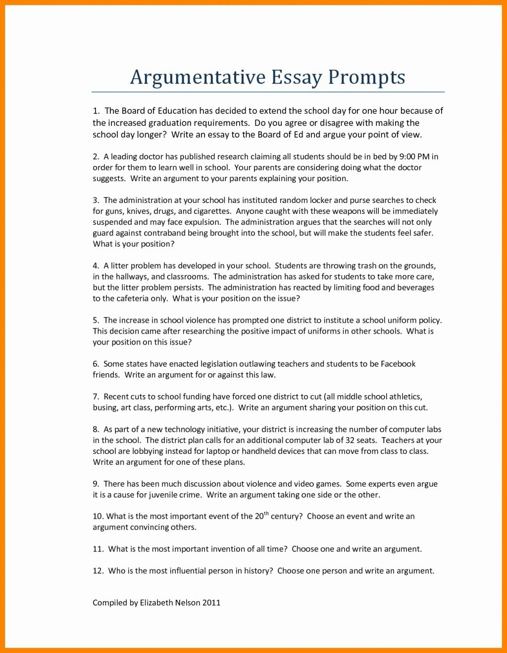 006 Middle School Essay Topics Good Persuasive For As Well Argumentative Hookss Printables Corner College Thesis Conclusion Introduction Pdf Archaicawful Prompts Funny Large