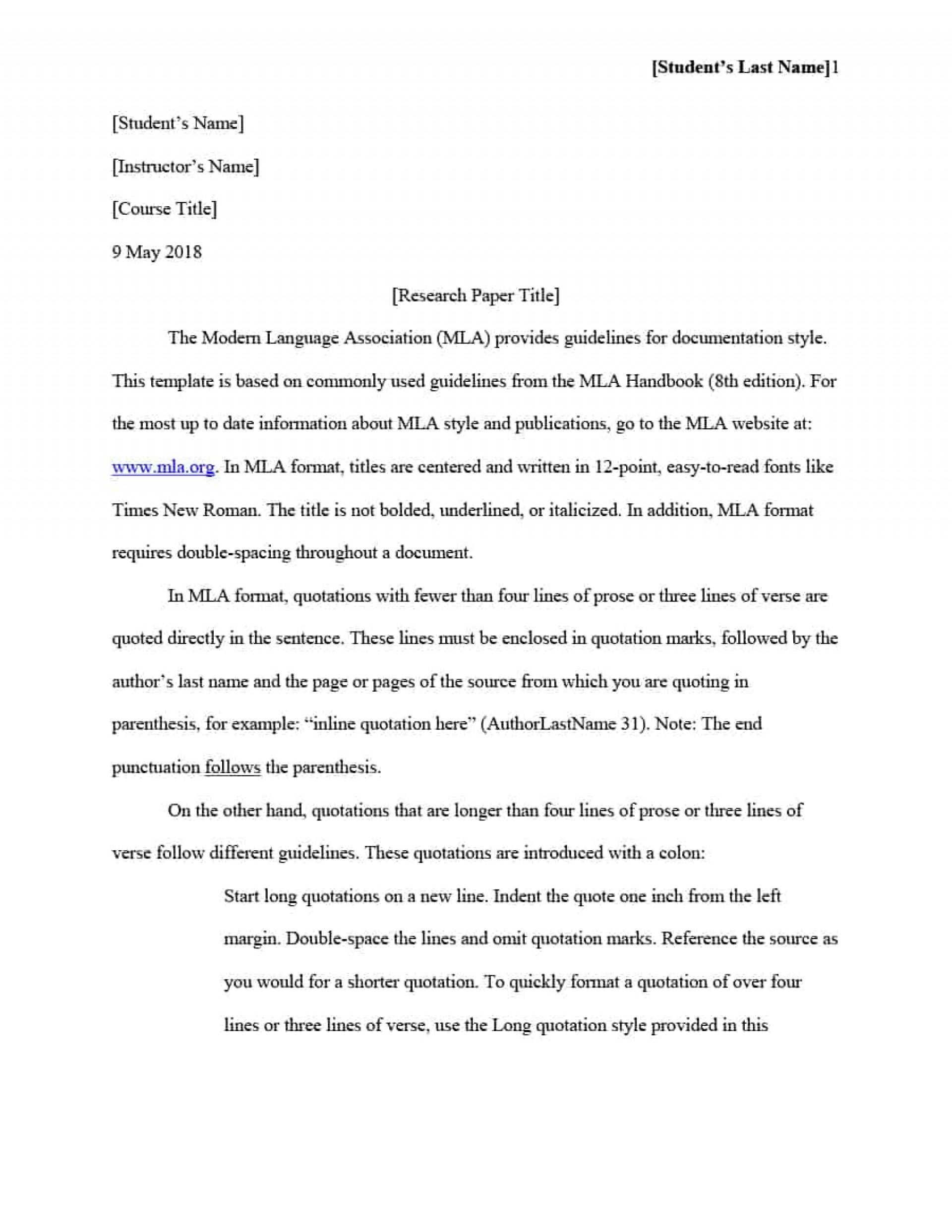 006 Mla Essay Example Format Template Magnificent 2018 Style Title Page 1920