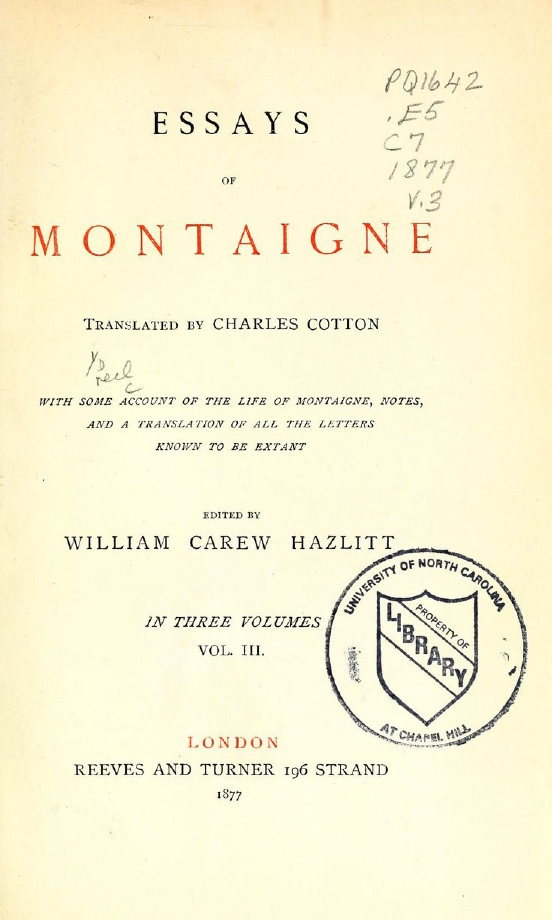 006 Montaigne Essays Pdf Essay Stirring Deutsch English Penguin 1920