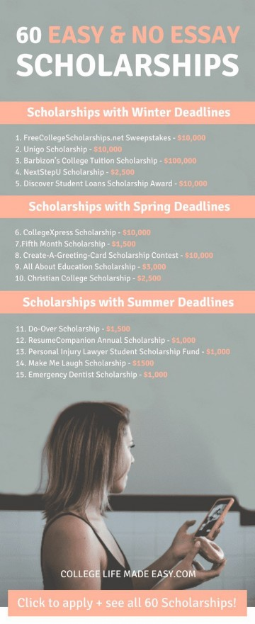 006 No Essay Scholarship Wondrous College Scholarships 2018 2019 Free 360