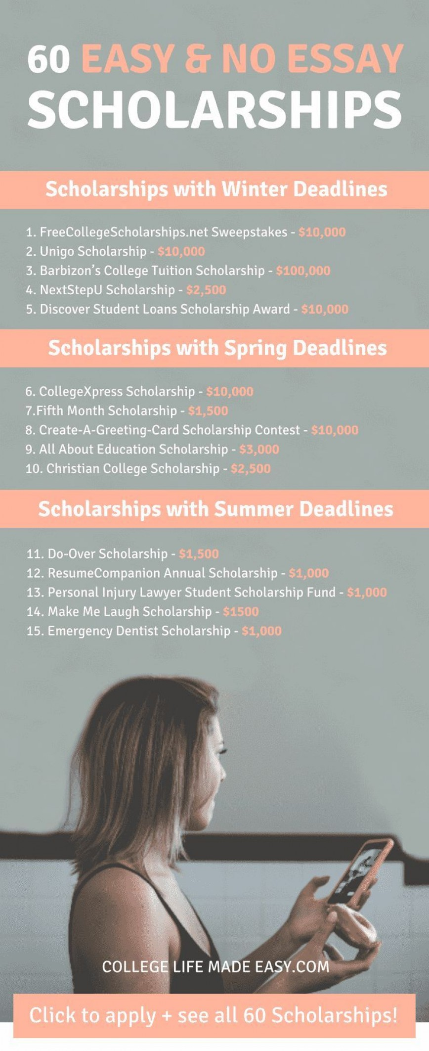 006 No Essay Scholarship Wondrous College Scholarships 2018 2019 Free 868