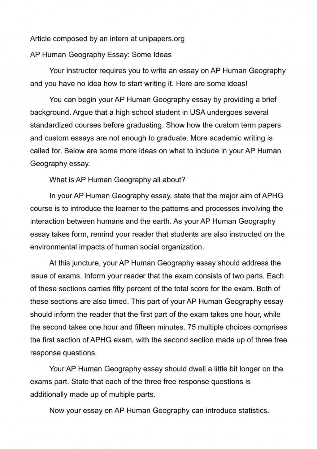 006 P1 Human Geography Essays Stunning Essay Examples Ap Free Response Large