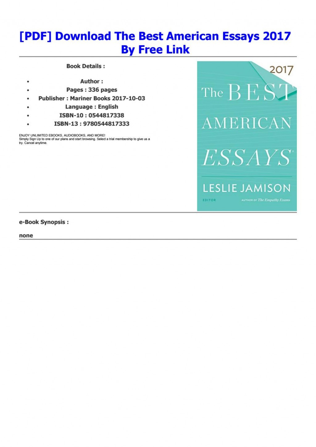 006 Page 1 Essay Example Best American Essays Astounding 2017 Submissions Pdf Free Download Large