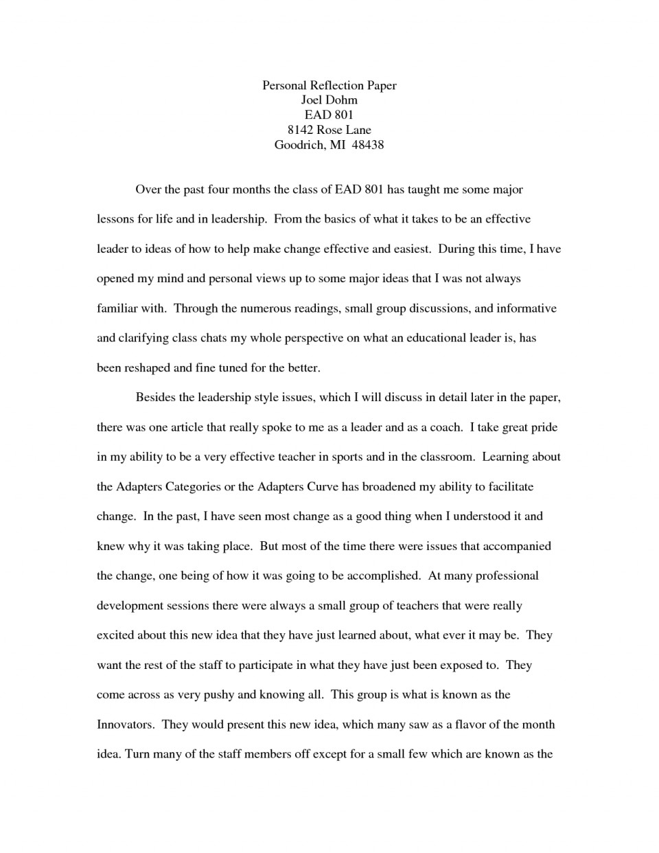 006 Personal Reflection Essay Examples Paper Example Ggnje Of Reflective Essays On Group Work For English