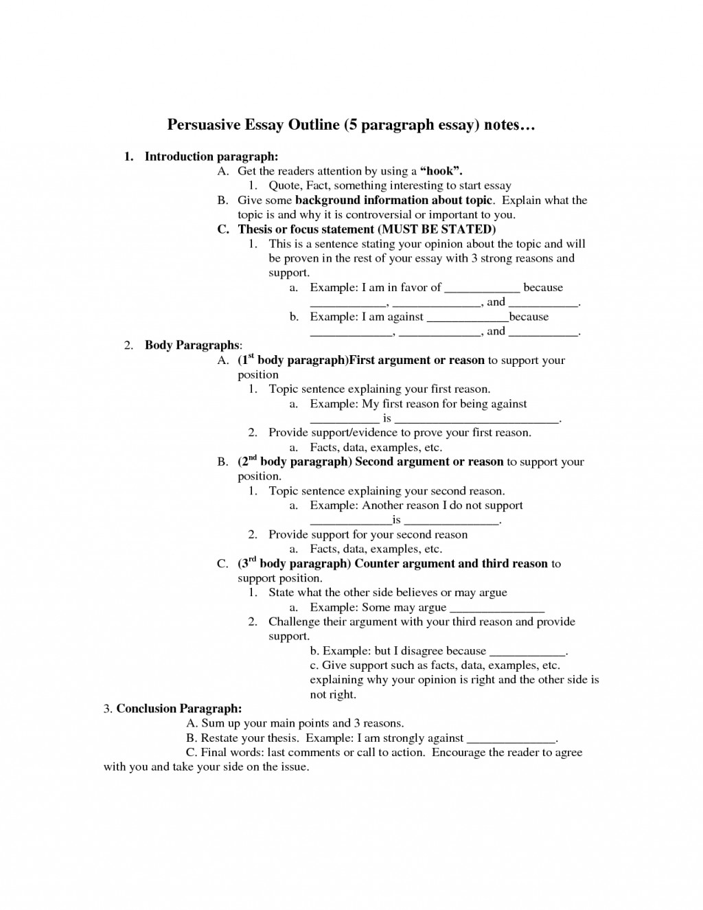 006 Persuasive Essay Outline Unbelievable 5 Paragraph Template Worksheet Pdf Large