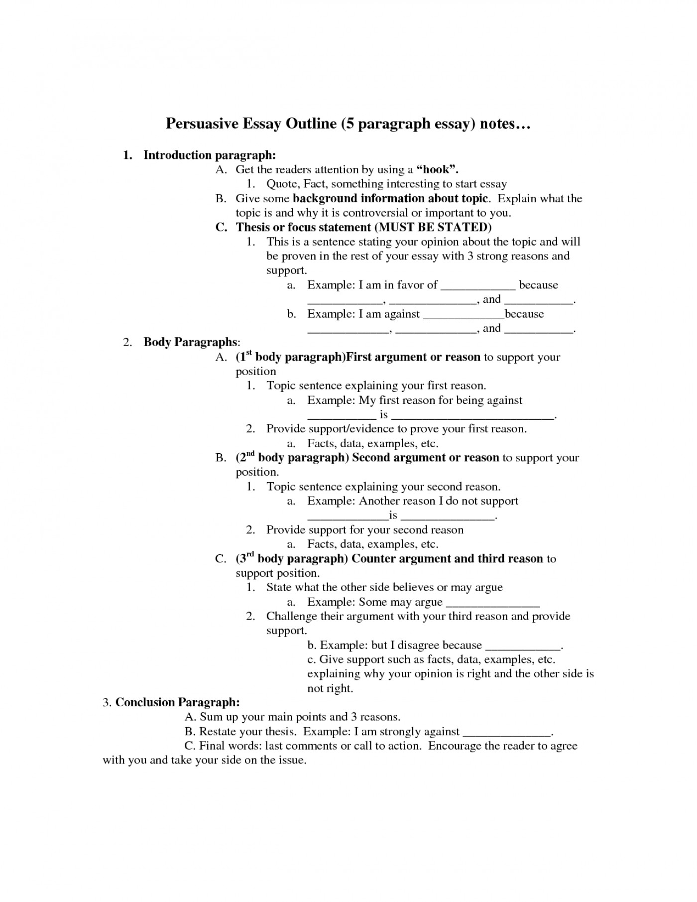 006 Persuasive Essay Outline Unbelievable 5 Paragraph Template Worksheet Pdf 1400