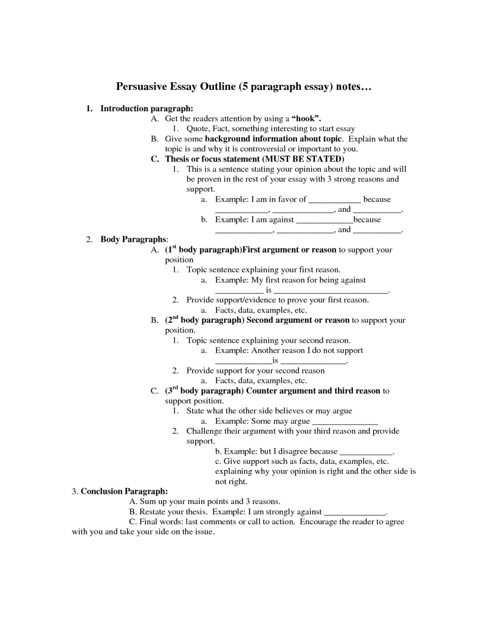 006 Persuasive Essay Outline Unbelievable 5 Paragraph Template Worksheet Pdf 960