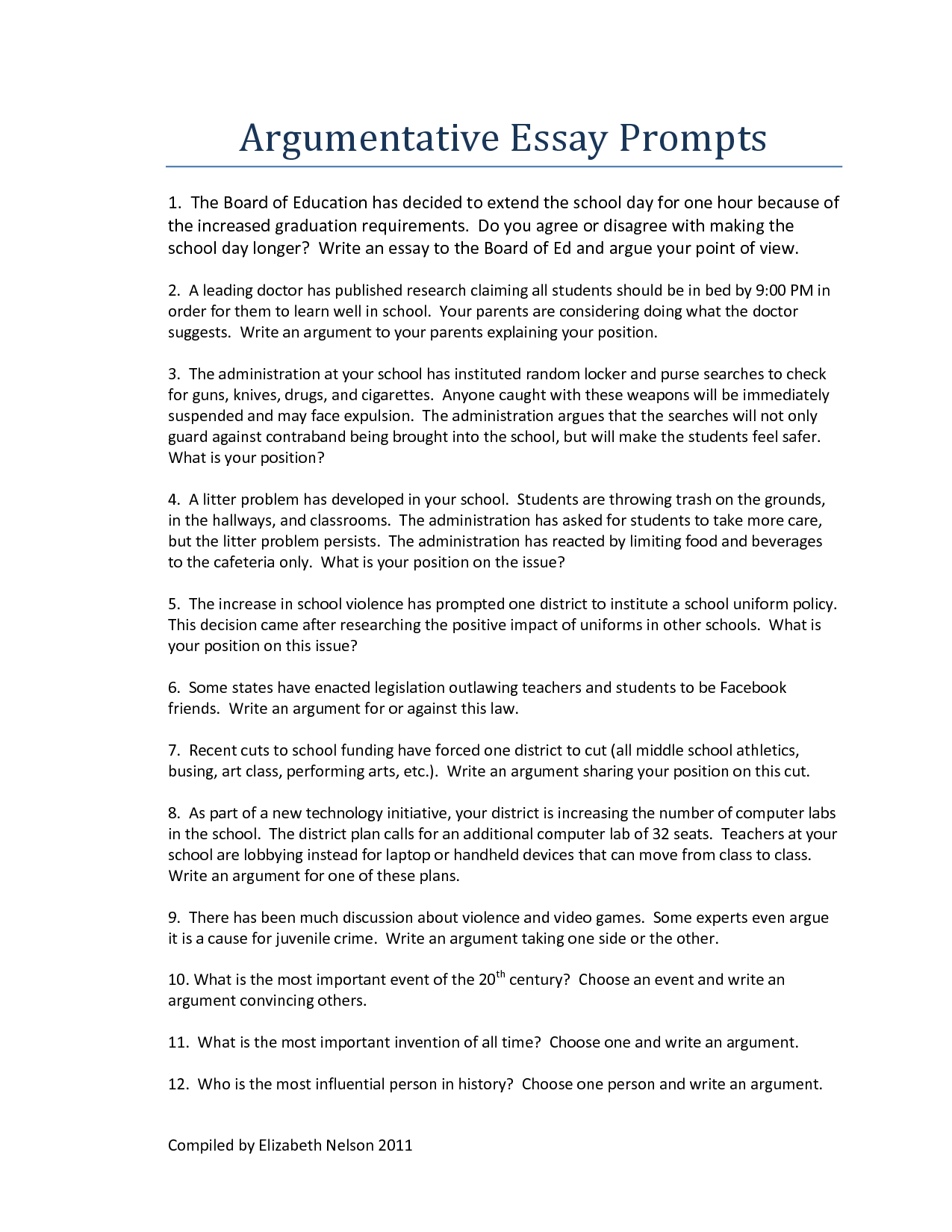 006 Persuasive Essay Topics For Middle School Argumentative Writings And Essays Easy Good High Argument Higher English 6th Grade Kids Pdf College About Imposing Speech Students Interest Prompts Full