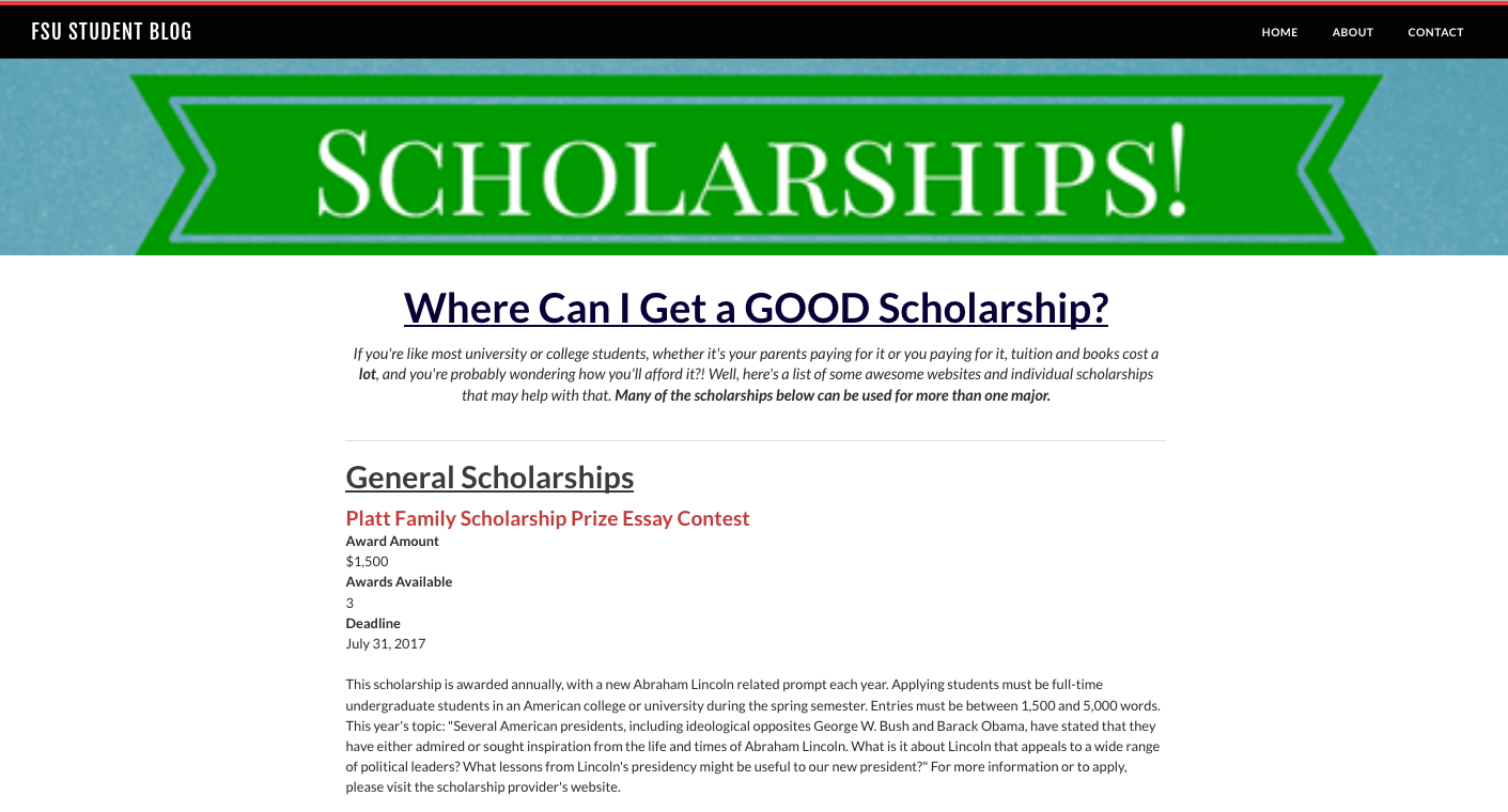 006 Platt Family Scholarship Prize Essay Contest Screen Shot At Am Orig Outstanding Full