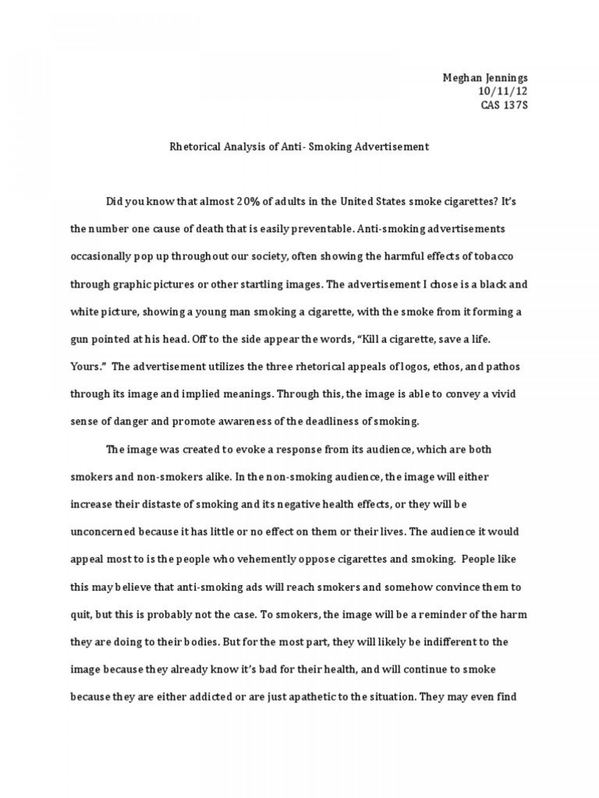 006 Quit Smoking Essay Example How To Anti Advertisement Rhetorical Fascinating 1920