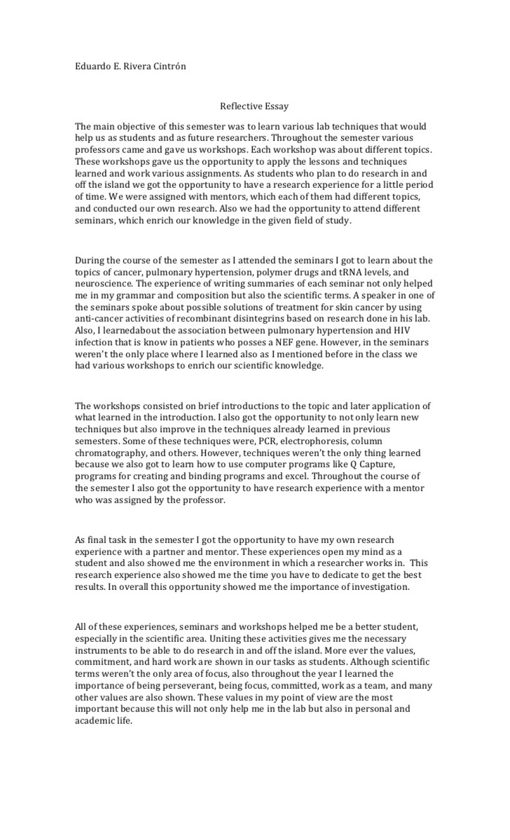 006 Reflective Essay Example Course Unforgettable Examples About Life Pdf High School Students Apa Large