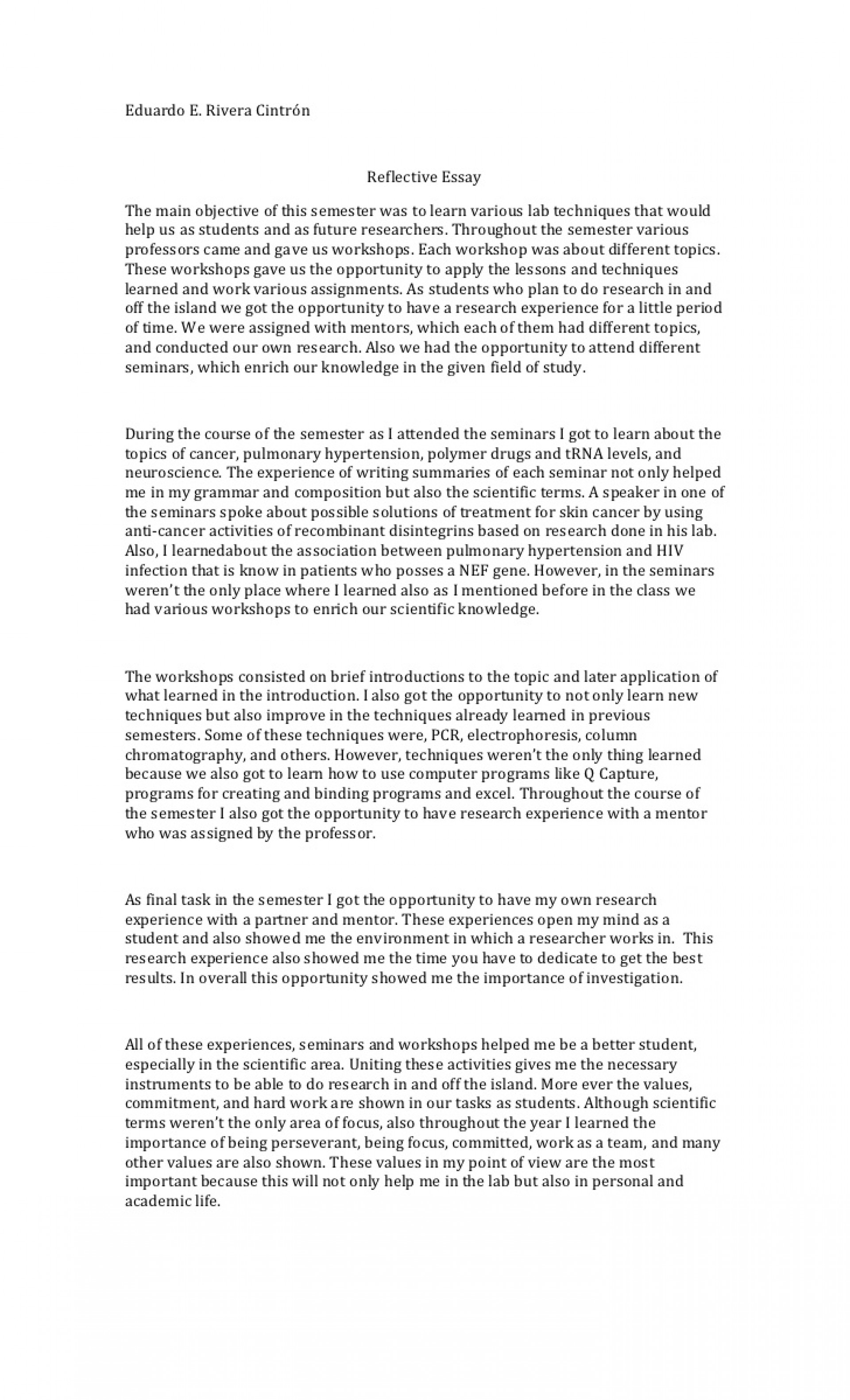006 Reflective Essay Example Course Unforgettable Examples About Life Pdf High School Students Apa 1920