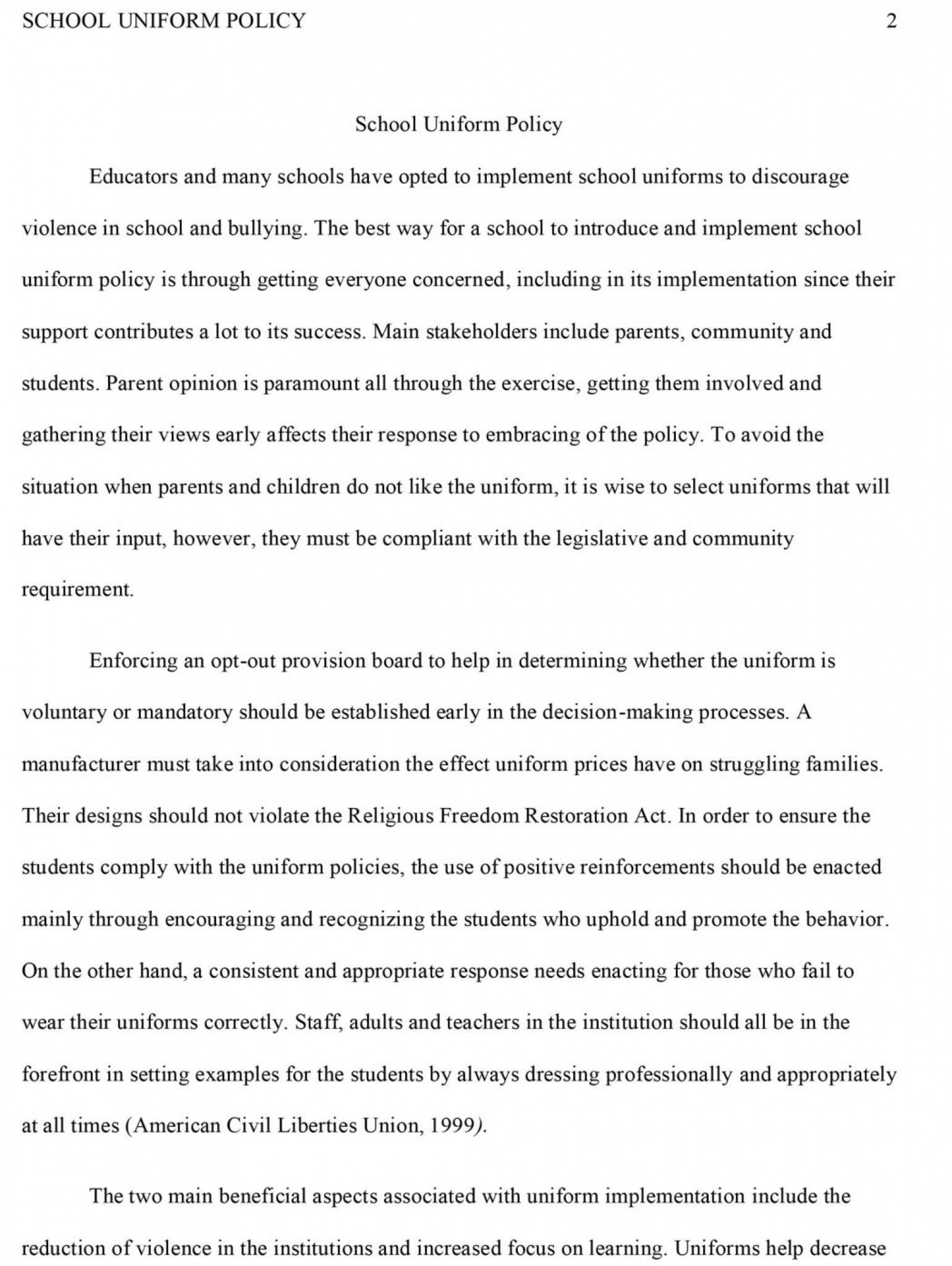 Sample Argumentative Essay Example On Uniforms on example middle school, for classroom, cew format,