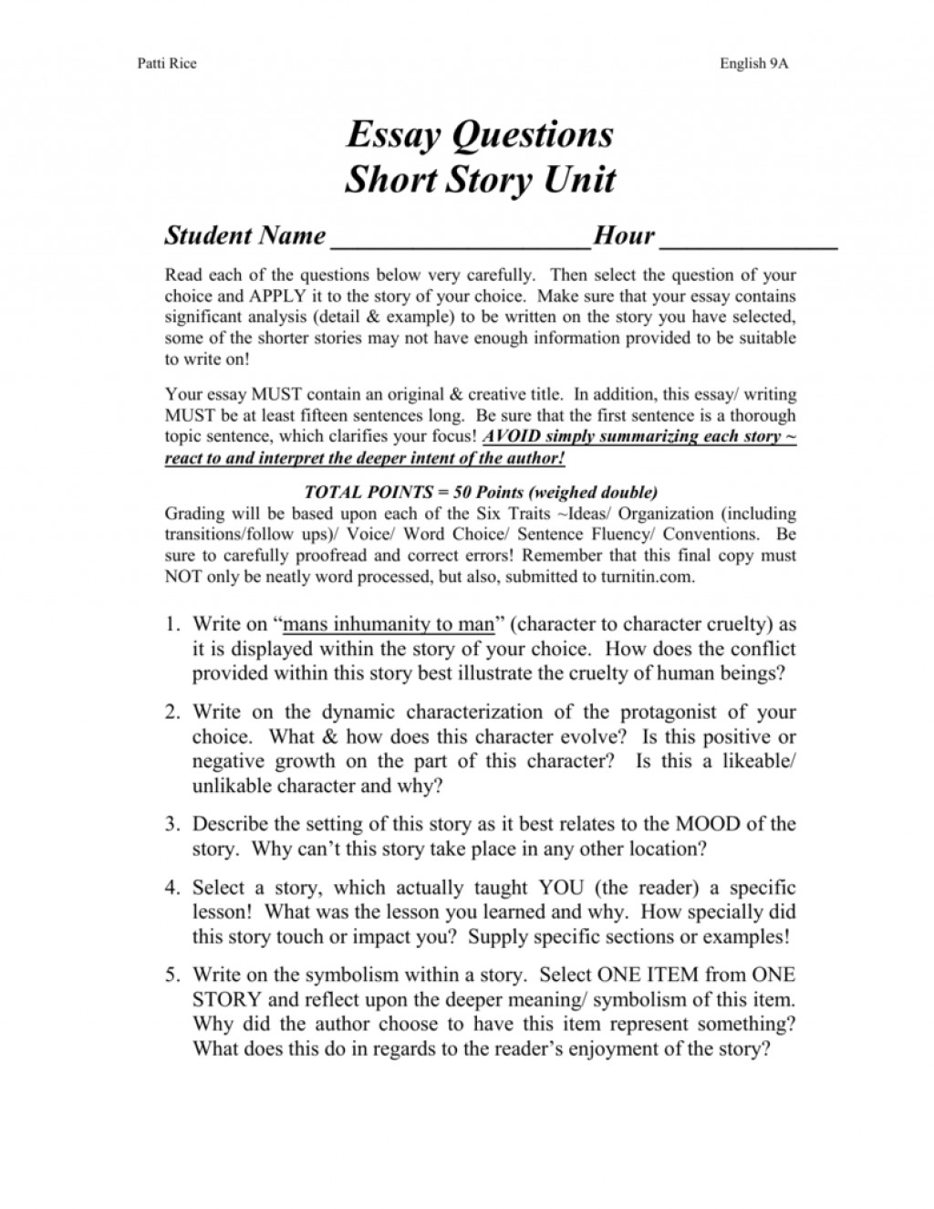 006 Short Story Essay Examples Example 008001643 1 Unforgettable Analysis For High School Large