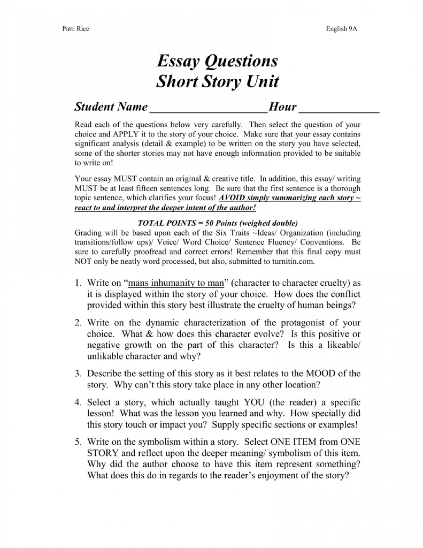 006 Short Story Essay Examples Example 008001643 1 Unforgettable Analysis Comparison 1400