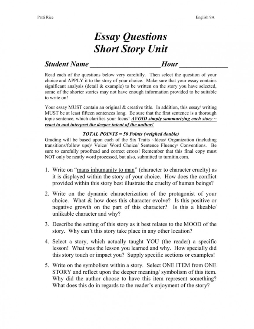 006 Short Story Essay Examples Example 008001643 1 Unforgettable Analysis Comparison 868