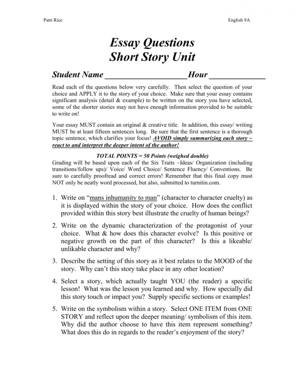 006 Short Story Essay Examples Example 008001643 1 Unforgettable Analysis Comparison 960