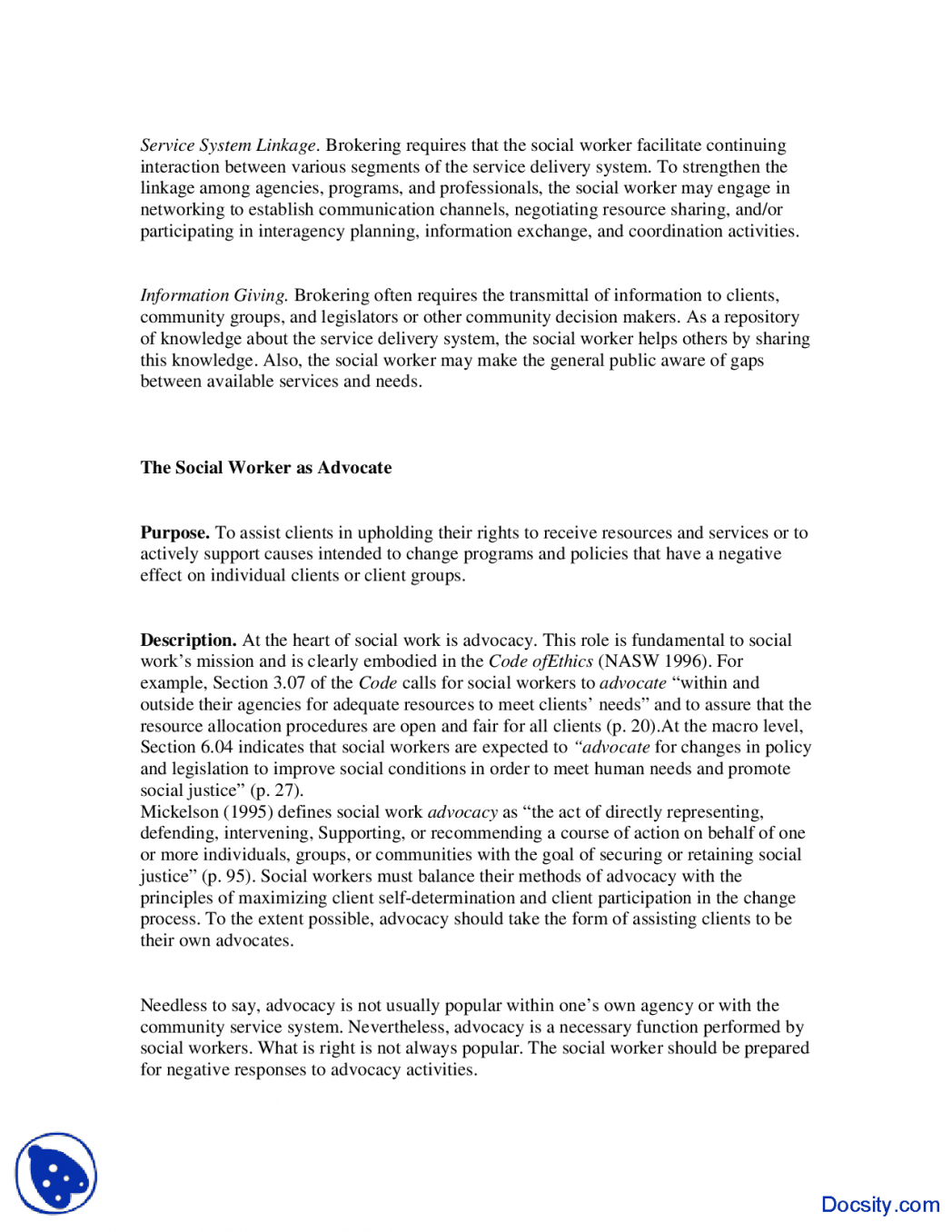 Essay on human service workers