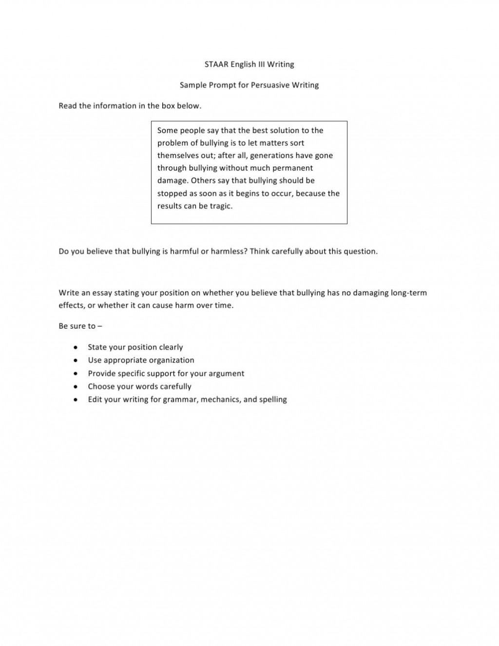 006 Staar Persuasive Essay Prompts Page 10 Dreaded Writing 10th Grade English 2 2015 Large