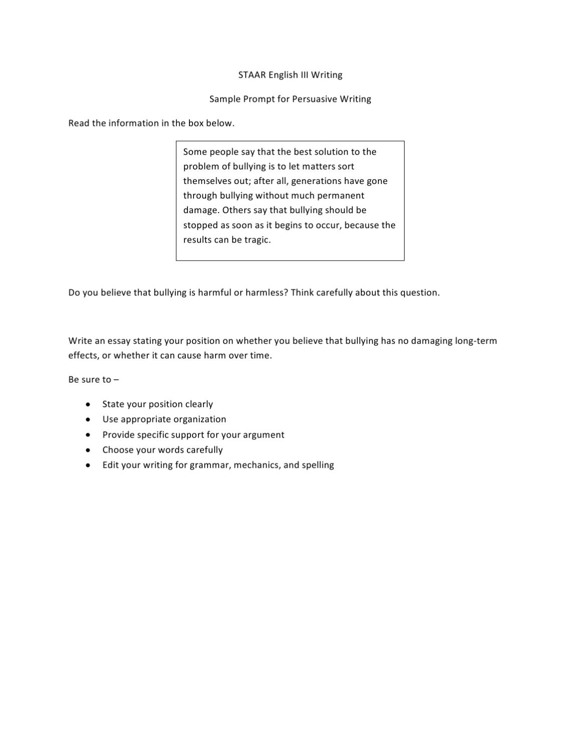 006 Staar Persuasive Essay Prompts Page 10 Dreaded Writing 10th Grade English 2 2015 Full